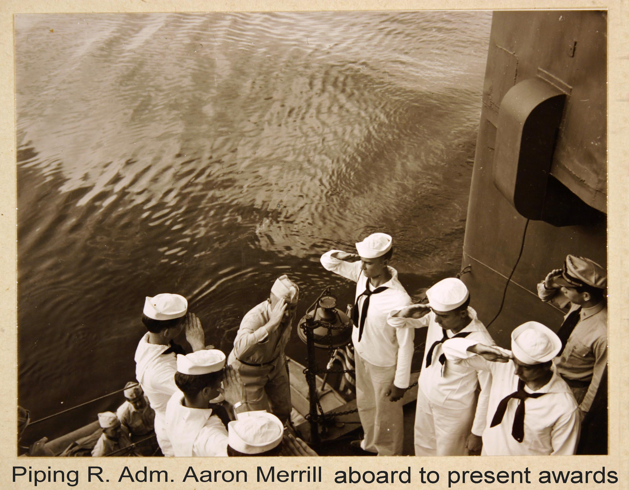 Rear Admiral Merrill piped aboard Columbia