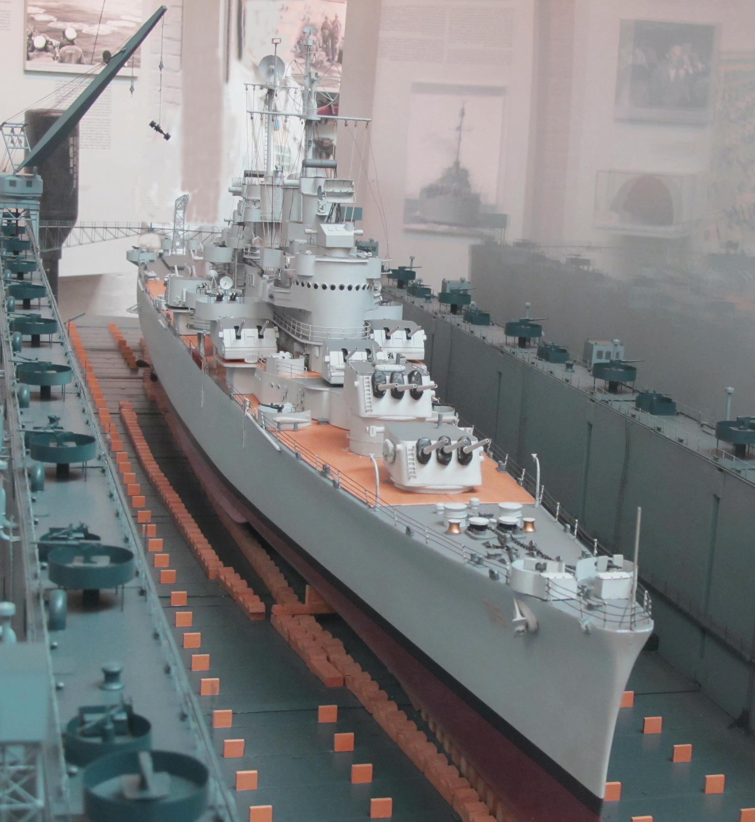 Columbia model in floating drydock