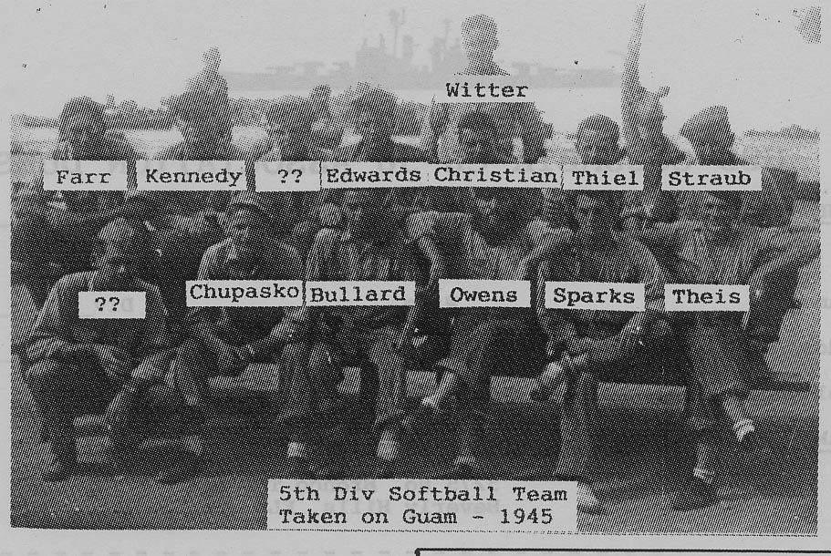 5th Division softball team in Guam 1945