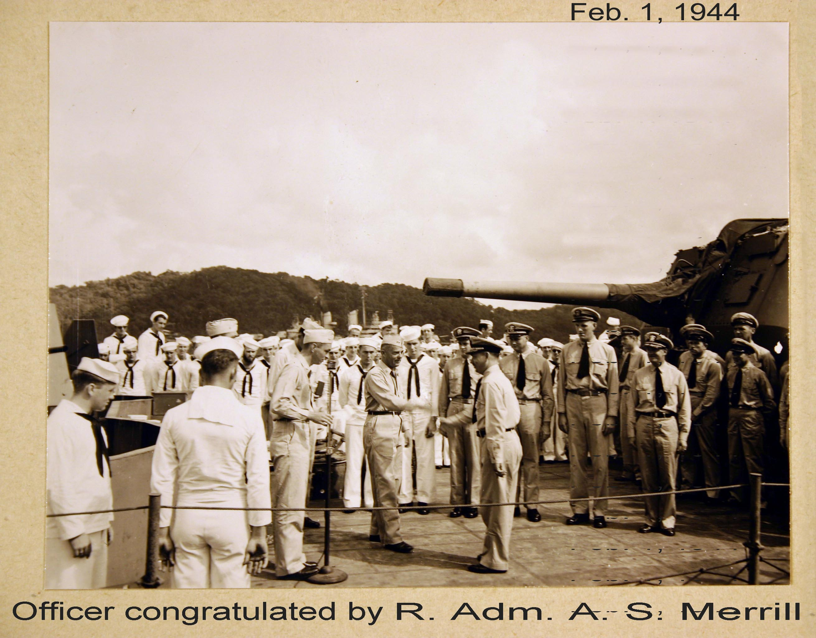 Picture of Officers being congratulated Feb. 1, 1944