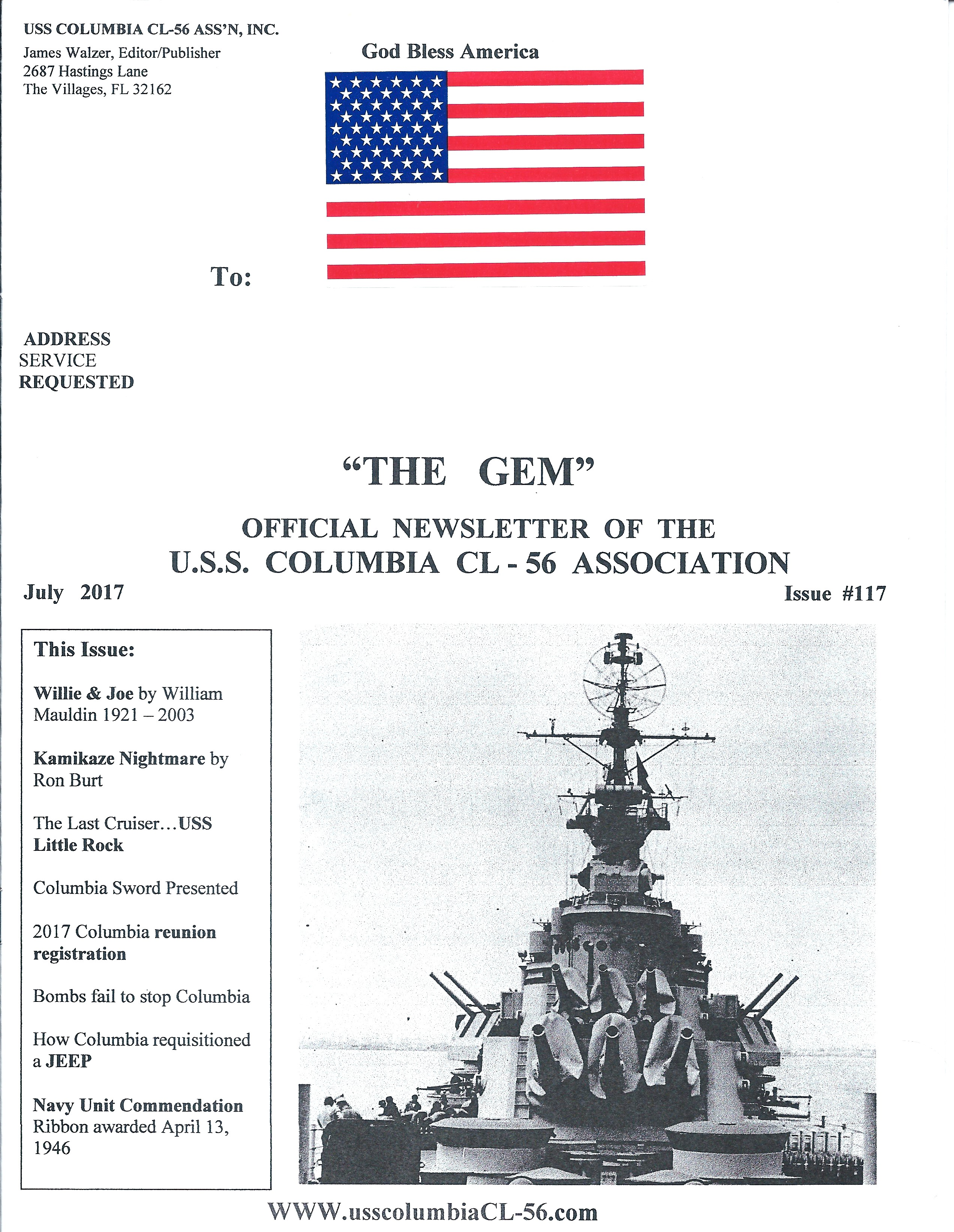 Cover of July 2017 newsletter